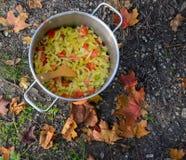 Matlagning på en picknick - lök och peppar i en panna Royaltyfri Bild