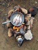 Matlagning på lägret Arkivfoton