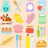 Matlagning stekheta hjälpmedel i pastell royaltyfri illustrationer