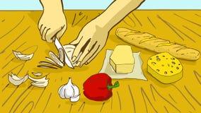 matlagning Tecknad filmkvinnlighänder klippte löken på trätabellen Fotografering för Bildbyråer