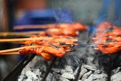Matlagning thailändsk thailändsk mat; Stekhet höna för thailändsk kokkonst Arkivfoto