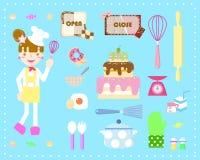 Matlagningbageriuppsättning vektor illustrationer