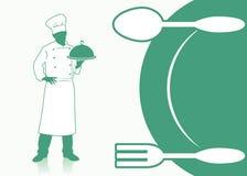 Matlagningbakgrund med kock vektor illustrationer