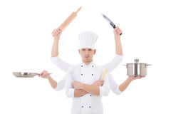 Matlagningbegrepp - kock för ung man med 6 händer som rymmer kökequ Arkivfoto