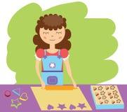Matlagningkvinna också vektor för coreldrawillustration royaltyfri illustrationer