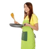 matlagningkvinnabarn Fotografering för Bildbyråer