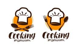 Matlagninglogo eller etikett Emblem för restaurang- eller kafémenydesign Bokstävervektorillustration royaltyfri illustrationer