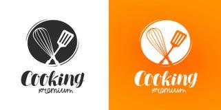 Matlagninglogo eller etikett Kokkonst matlagningsymbol också vektor för coreldrawillustration royaltyfri illustrationer