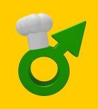 Matlagningmanligsymbol stock illustrationer