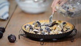 Matlagningpaj med plommoner Läcker hemlagad plommonpaj stock video