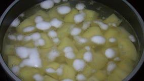 Matlagningpotatisar i en kruka, timelapse stock video