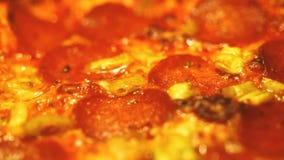 Matlagningsalamipizza i ugn arkivfilmer