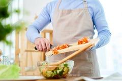 Matlagningseminarium för fullt fotografering för bildbyråer