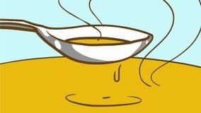 Matlagningsoppa eller sås Varm mat för tecknad film i en sked Royaltyfri Bild
