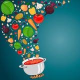 Matlagningsoppa med grönsaker också vektor för coreldrawillustration Stock Illustrationer