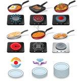Matlagningsymboler royaltyfri illustrationer