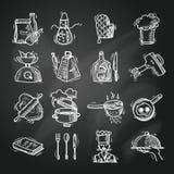 Matlagningsymboler skissar Royaltyfri Foto