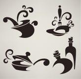 Matlagningutrustning- och matsymboler Arkivbild