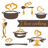 matlagningvektoruppsättning av kökbeståndsdelar Arkivfoton