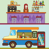 Matlastbil, kafébil på gatan, bageri och coffee shop cafen chairs tomma inre nummertabeller Royaltyfria Foton