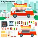 Matlastbil med mellanmål i staden Royaltyfri Fotografi