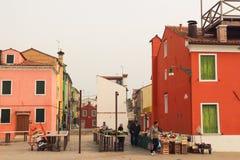 Matmarknad av Burano i Venedig Royaltyfri Bild