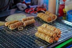 Matmarknad i Thailand, traditionell asiatisk marknad Arkivbilder