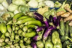 Matmarknad på Koh Phangan, Thailand arkivbild