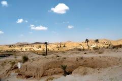 Matmata荒废村庄的全景  免版税库存图片