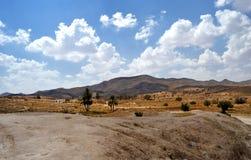 Matmata荒废村庄的全景  库存照片