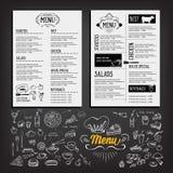 Matmeny, restaurangmalldesign Reklambladkafé Broschyrvint stock illustrationer