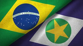 Mato Grosso state and Brazil flags textile cloth, fabric texture. Mato Grosso state and Brazil folded flags together vector illustration