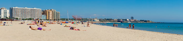 Matosinhos beach. PORTO, PORTUGAL - JUNE, 16: People relax at Matosinhos beach on June 16, 2015 in Porto, Portugal Stock Photography