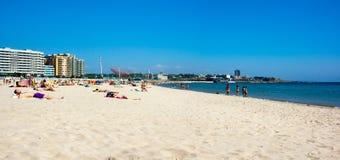 Matosinhos beach. PORTO, PORTUGAL - JUNE, 16: People relax at Matosinhos beach on June 16, 2015 in Porto, Portugal Stock Photos