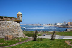 Matosinhos City and Castelo do Queijo stock photo