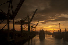 Matosinhos Docks Sunset Portugal Stock Photography