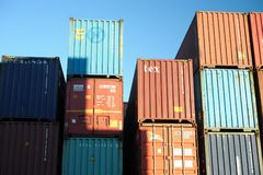 Group of containers stacked on docks. Matosinhos harbor moved last year six undred thousand containers Royalty Free Stock Images