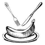 Maträtt av bananen Arkivfoto