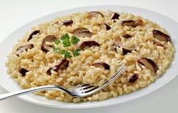 Maträtt av champinjonRisotto med gaffeln Arkivbild