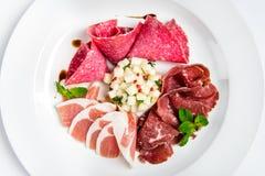 Maträtt av olika typer av kött-klipp på plattan Fotografering för Bildbyråer