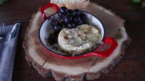 Maträtt av ost och druvor stock video