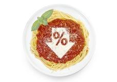 Maträtt av pasta med tomatsås och parmesanost i formen Arkivfoton