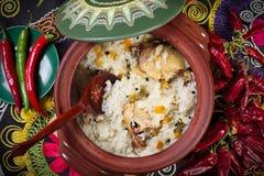 Maträtt av ris med kött arkivfoto