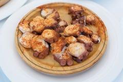Maträtt för Galicianstilbläckfisk Royaltyfri Fotografi
