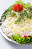 Maträtt för sillsallad Fotografering för Bildbyråer