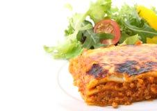 maträtt isolerad lasagne Royaltyfri Fotografi