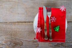 Maträtt med bestick för jullunch Royaltyfria Foton