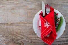 Maträtt med bestick för jullunch Royaltyfri Foto