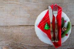 Maträtt med bestick för jullunch Royaltyfri Bild
