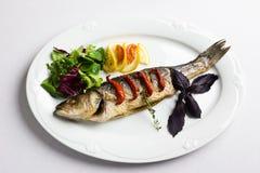 Maträtt med den bakade fisken Royaltyfria Bilder
